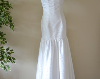 Custom made 'Madison' polka dot formal drop waist vintage style sheer illusion trumpet mermaid wedding dress bridal gown