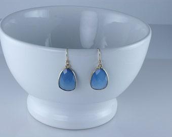 Blue Chalcedony Bezel Earrings, Chalcedony Gemstone Earrings, Tumble Earrings, Bezel Set Earrings, 18K Gold Plated Earrings, Dangle Earrings