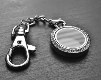 Medium Silver Floating Locket Keychain-25mm-Stainless Steel-Crystal Face-Gift Idea