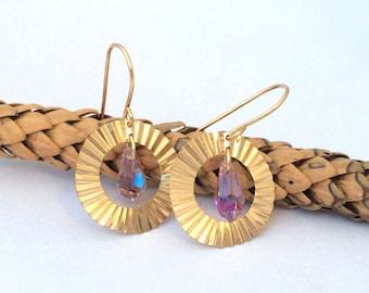 Gold Hoop Earrings / Swarovsi Earrings / Hoop Earrings / Crystal Earrings / Crystal Swarovski Earrings