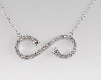 925 Sterling Silver Pavé CZ Open Infinity Necklace