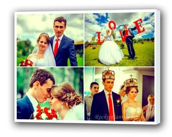 Canvas Wedding Photo Collage Gift Personalized Wedding Pictures Photo Collage Canvas Family Photo Collage/  Personalized Collage Art