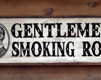 Vintage wooden sign 'Gentlemen's Smoking Room' with frame ~ NEW VERSION