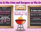 Baby Shower Girl Princess Invitation Invite Babyshower BBQ Barbecue Custom Personalized Printable Digital Chalk Chalkboard Design 2