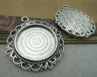 10pcs 25mm base Antique bronze 25mm bezel cup cabochon mountings pendant trays  bc5986