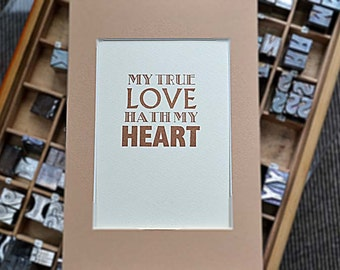 My True Love Letterpress Print