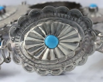 Vintage Native American Sterling Silver Stamped Small Turquoise Concho Belt with Detailed Design 004
