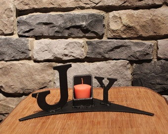 Festive holiday metal candle holder