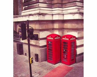 London Red Telephone Box Photography, England, British, Phone, Vintage, Brown and Beige - Calling London