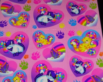 LISA FRANK vintage stickers Kittens and Balloons in heart shaped stickers S213