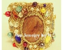 Massive bracelet, Bracelet, Bridal Bracelet, Trend 2014, Beadwork Bracelet, Embroidery cuff bracelet, Royal Bracelet, Aventurine Bracelet