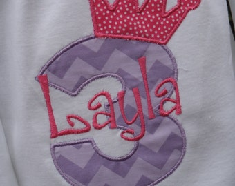 Personalized Princess Crown Tee with Number