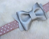 Soft Leatherette Silver Bow on Antique Mauve Elastic with Silver Polka Dot Baby Headband