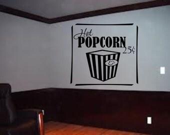 Hot Popcorn Theater wall art decal