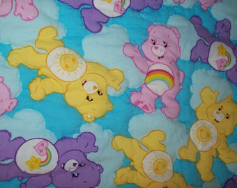 Hand quilted baby blanket,  Care Bears