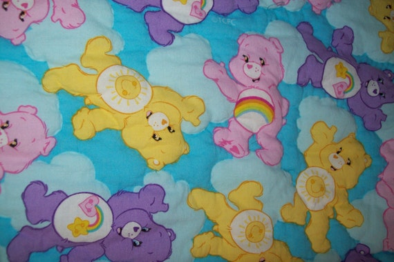 Hand quilted baby blanket Care Bears