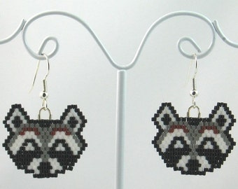Beaded Raccoon Earrings