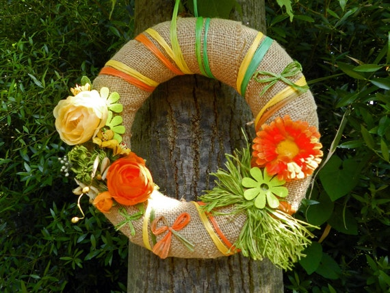 Summer wreah, made in Italy, handmade, a piece of wall art, year round wreath,  nice either as front door wreath and wall decor