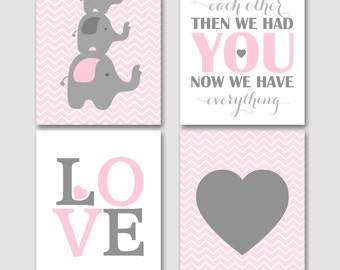 Elephants first we had each other, baby girl nursery set, pink grey elephants, girls playroom decor INSTANT DOWNLOAD