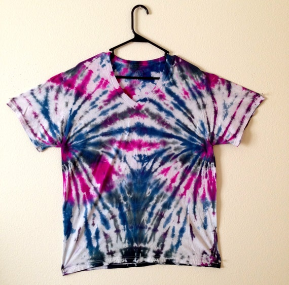 Black blue and purple tie dye v neck t shirt for Black and blue tie dye t shirts