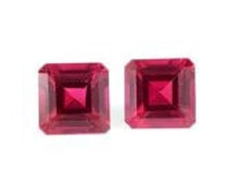 Ruby Synthetic Lab Created Octagon Cut Loose Gemstones Set of 2 1A Quality 5mm TGW 1.45 cts.