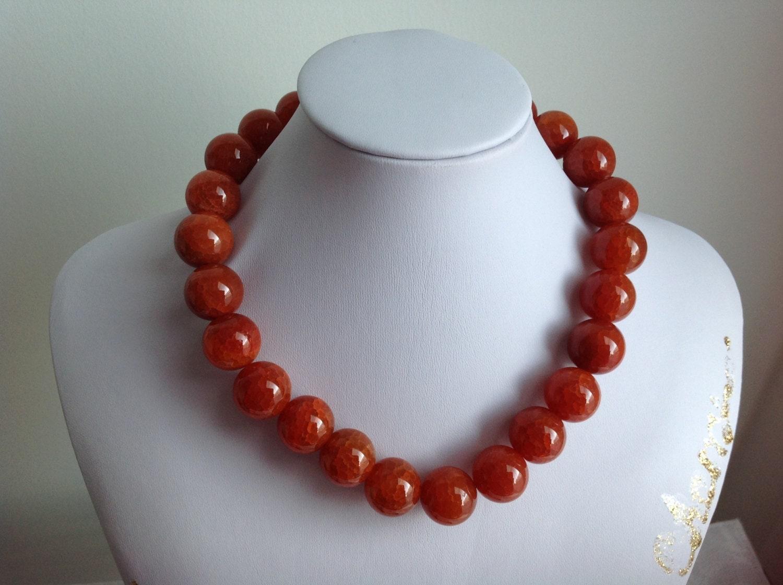 agate orange gemstone necklace 16mm beaded semi precious