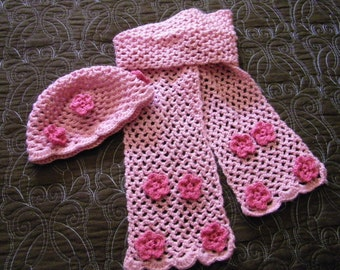 Toddler Pink Hat and Scarf Set