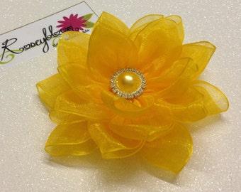 Summer Hair Clip-Bride Head Piece-Flower Hair Clip-Bridesmaid Hair Clip-Bridal Hair Piece-Yellow Hair Clip-Yellow Flower Bridal Hair Clip