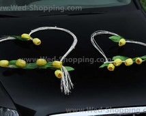 Yellow Tulips with Rattan Hearts Wedding Car Decoration Kit DEK1041 Limo Yellow, Orange, Red, Lilac, Pink