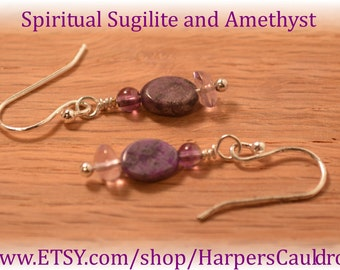 Sugilite & Amethyst Earrings, on Silver-plated Headpin and Sterling Silver Fishhook Earwires