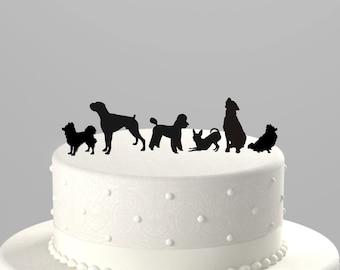 Add a Pet - Dog Silhouette Cake Topper, Cupcake Topper Acrylic Cake Topper [CTpd]