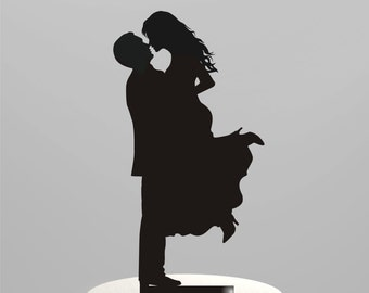 Wedding Cake Topper Silhouette Groom Lifting his Bride, Acrylic Cake Topper [CT17]
