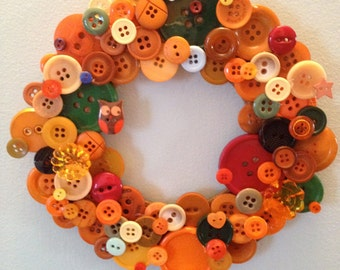 Cozy Brown Autumn Button Wreath