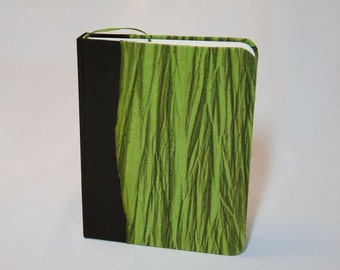Blank travel journal, handmade brown and green colors with bookmark