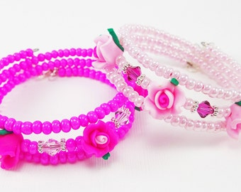 Floral Beaded Wrap Bracelet from Memory Wire  - Hot Pink /Light Pink Jewelry Gifts for Girls or Teens