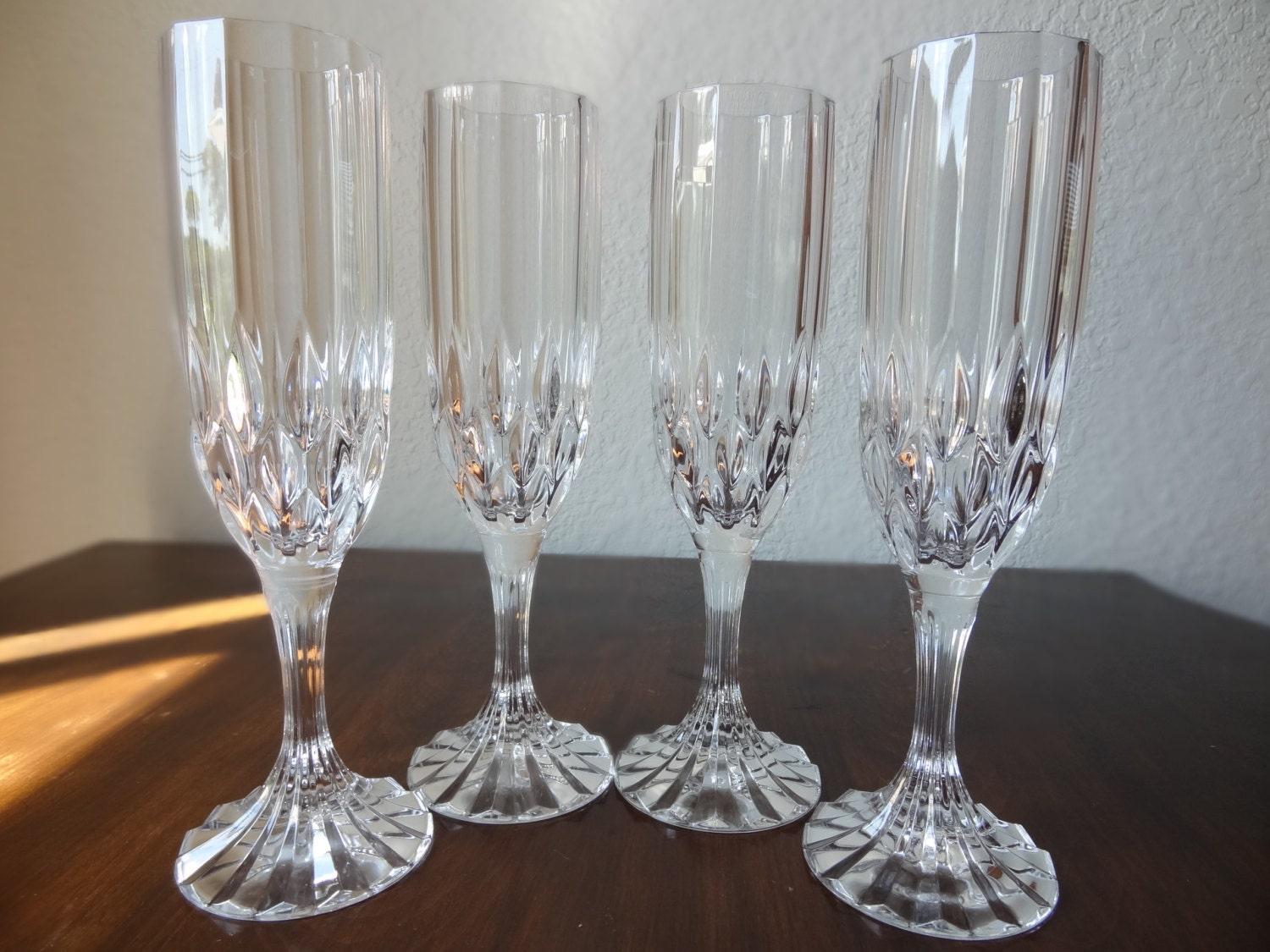 vintage set of 4 cristal d arques bretagne champagne glasses. Black Bedroom Furniture Sets. Home Design Ideas