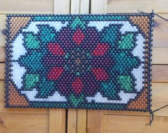 READY TO SHIP Christmas Pointsettia Beaded Banner