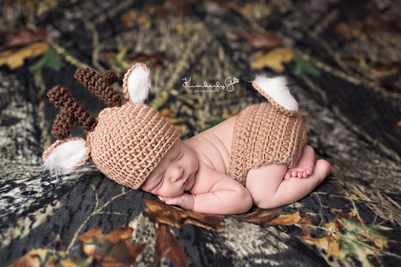 Crochet Whitetail Deer Baby Diaper Cover/Beanie Hat Set/Baby