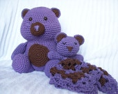 Crochet Teddy Bear Stuffed Animal Plush and Bear Baby Lovie Blanket, Baby Lovey Blanket, Baby Security Blanket Set (Made to Order)