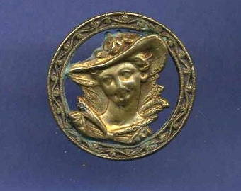 Antique Button Brass Lady with Hat - Pierced