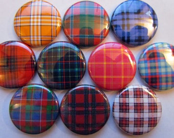 Tartan - Plaid Pinback Button Badge Pin (Set of 10)