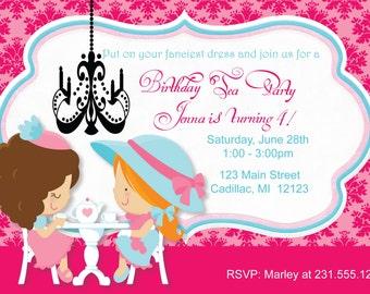 Little Girl's Tea Party Invitation - Tea Party Birthday Invitation by FabPartyPrints
