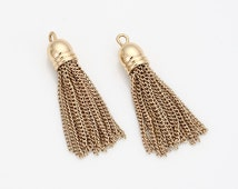 Chain Tassel Pendant Polished Gold-Plated - 2 Pieces [P0465-PG]