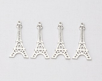 Cubic Eiffel Tower Pendant Polished Rhodium -Plated- 2 Pieces<P0292-PR>
