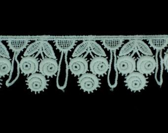 10yds White Cotton Floral Guipure Lace Trim