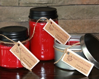 RED APPLE Maple Creek Candles ~ Strong Juicy Apple ~ Soy Wax Blend Candles, 3 sizes, Fun Rustic Lid