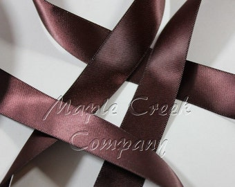 "5 yards of Plum Raisin Satin Single Face Ribbon, 3 Widths Available: 7/8"", 5/8"" or 3/8"""