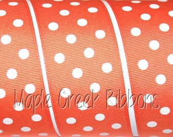 "1-1/2"" Orange with White Polka Dot Grosgrain Ribbon 1-1/2"" x 1 yard"