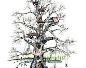 """Tree house, Noah, whimsy, boat, children, rope swing, trampoline, Pen & Ink and Watercolor, """"Noah's Tree House"""" (Reproduction)"""