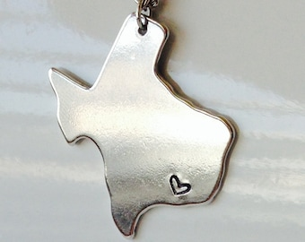 Texas State Necklace with Heart